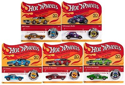 Hot Wheels 2018 50th Anniversary Originals Redlines Series Complete Set of 5 1/6