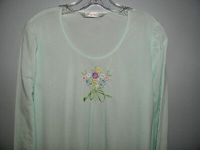 60's Furstemberg L/S Green Nightgown, Cotton Lingerie, Made in W. Germany sz L