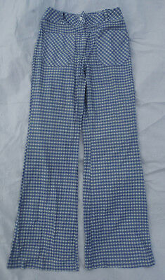 Vtg Womens Blue Plaid Wide Bell Bottom Flare 25 X 29 Teen Trousers Pants Jeans