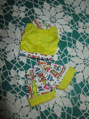 Vintage 1990 Barbie Abstract Cotton Print & Yellow Nylon  Top & Shorts Euc
