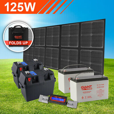 125w Complete Folding Solar Panel Mat Kit with Dual Batteries (Solar Blanket)