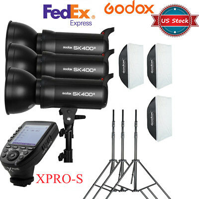 US 3X Godox SK400II 400W Flash Softbox Stand Light Kit + Xpro-S Trigger for Sony