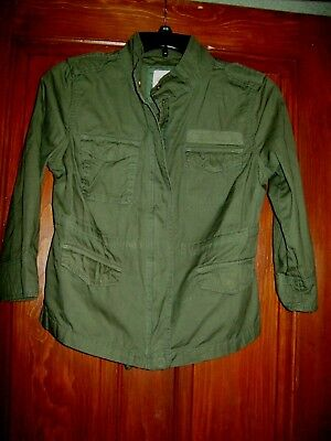 Old Navy Woman's Size S Army Green Lightweight 3/4 Length Sleeve Zipper Jacket