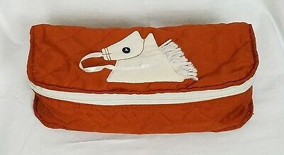"Vintage Horse Travel Make Up Cosmetic Craft Bag Orange 12"" L"