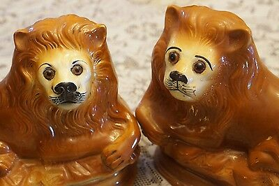 Antique Staffordshire PAIR of Large LIONS W/ Glass Eyes 1800s Great Condition!!!