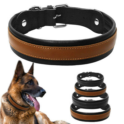 Brown Black Soft Wide Leather Dog Collar Large Adjustable with Thick Padded