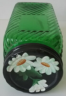 Owens Illinois Forest Green Hoosier Glass Sugar Canister Daisies Painted TinLid