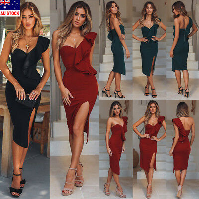 Women's Bandage Bodycon Sleeveless Evening Party Cocktail Club Mini Dress AU