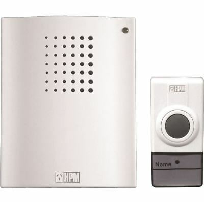 HPM Door Bell Chime - 16 Tunes - Wireless Operation - White - Incs Batteries