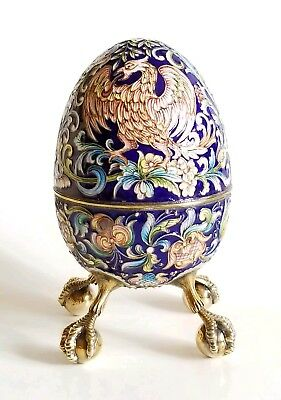 Unique Huge Russian Gilt Silver Shaded Enamel Egg Box