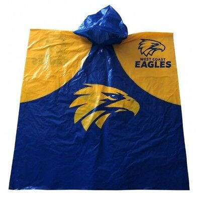West Coast Eagles Official AFL Full Print Logo Plastic Poncho with Hood