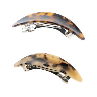 Vintage French Acetate Hair Clip Leopard Automatic Barrette Hairpin for Women