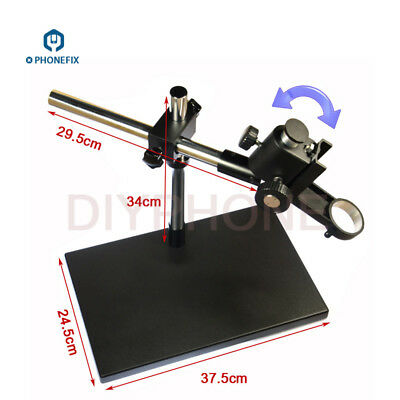 Heavy Duty Dual-Arm Metal Boom Stereo Microscope Table Stand Holder Ring 50mm