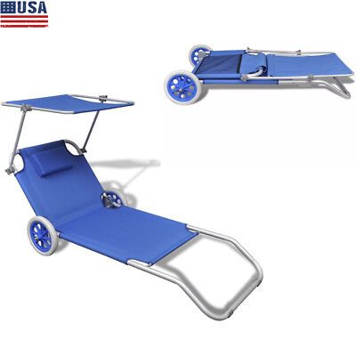 Outdoor Folding Sun Lounger  Beach Recliner with Canopy Wheels Aluminum Frame US