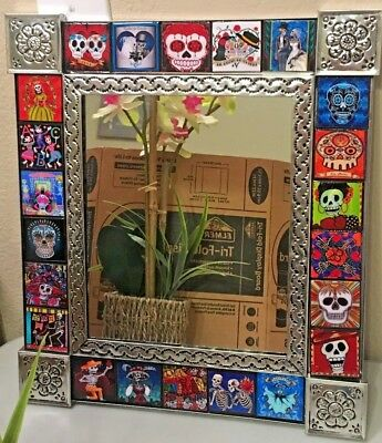 Mexican Folk Art Day Of The Dead Large Mirror Tile Talavera Sugar Skull Catrina