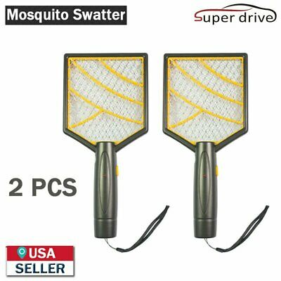 Orange Electric Bug Pest Insect Fly Wasp Handheld Racket Zapper Mosquito Swatter