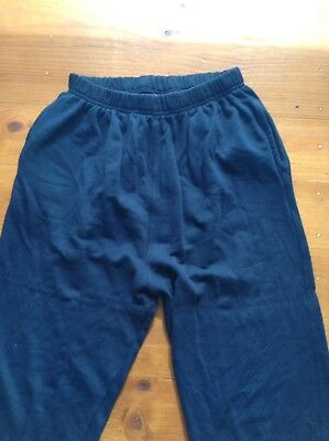 Ladies High Waisted Blue Tracksuit Pants Size 12 Elastic Waist Navy Blue cotton