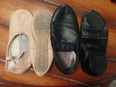 Lot of 2 Pink Leather Ballet and Black Gymnastics Shoes Size 3 & 4