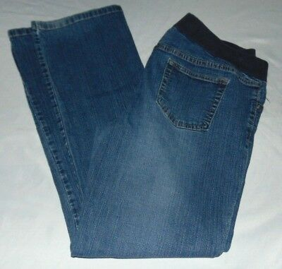 """Womens DUO Maternity JEANS Straight Leg Back/Side Elastic Band Size L Insm 30.5"""""""