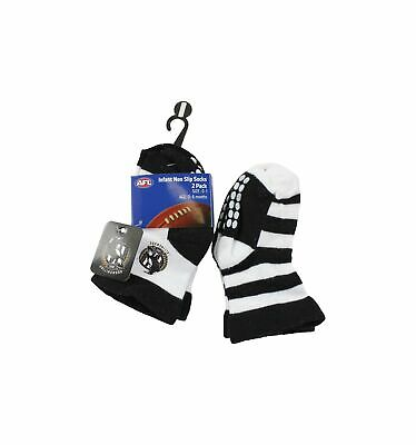 Collingwood Magpies Official AFL Baby Infant Non-Slip Socks 2 pack