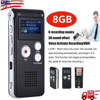 8GB Digital Audio Voice Recorder Rechargeable Dictaphone Telephone MP3 Player UT