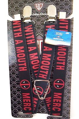 Marvel Deadpool Youth Kids Boys Girls Clip-On Suspenders By Buckle Down New Sale
