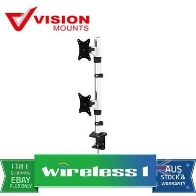 """Brand New Vision Mounts VM-FE120D Desk Clamp Dual Vertical Monitor Arm up to 27"""""""
