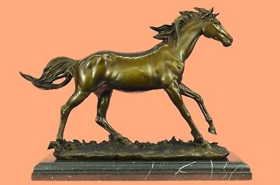 Hand Painted Vintage Bronze Horse Bust On Marble Base Sculpture Figurine ArtHQ