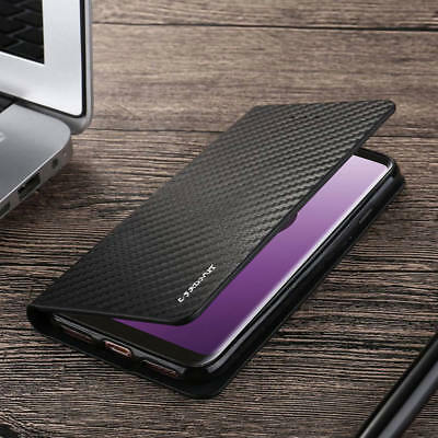 Magnetic Carbon Leather Flip Case Cover For Samsung Galaxy S10 S9 S8 A10 A50 A70
