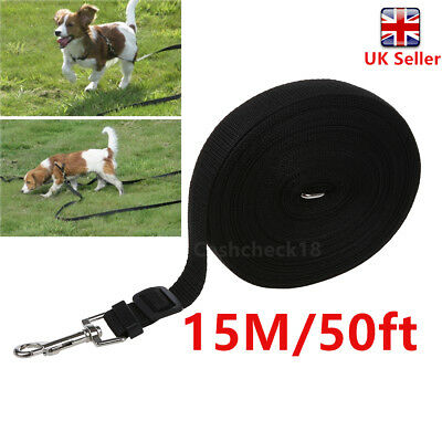50Ft Long Pet Dog Lead Leash Strong Training Walking Recall Obedience Hunting Uk
