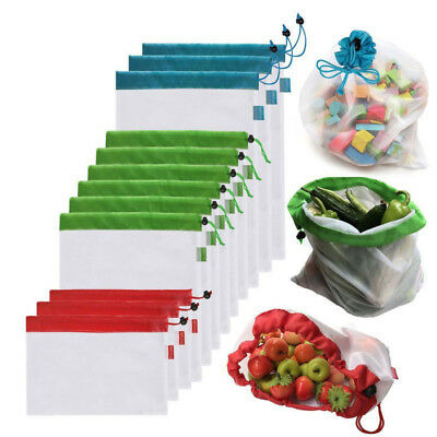 Reusable Produce Bags Black Rope Mesh Vegetable Fruit Toys Storage Pouch NEW