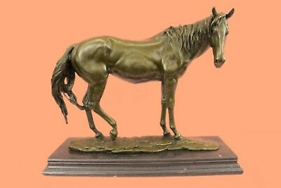 Hand Painted Large Bronze Sculpture Horse Bust Solid Marble Base FigurineHQ