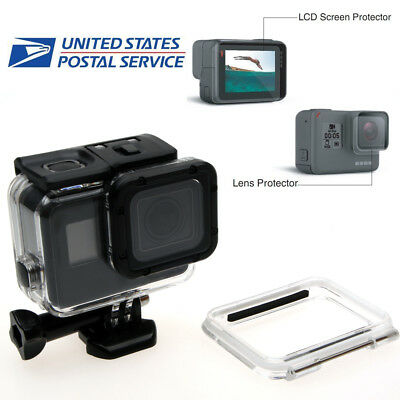 For GoPro Hero 6 5 Waterproof Diving Protect Housing Case Cover + Screen Film