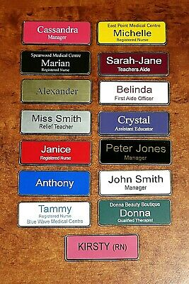 Engraved 76x25mm Name Badge With Metalic Gold Edge Magnetic Fastener