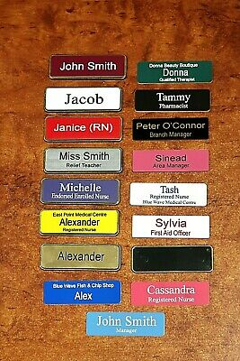 Engraved Name Badge 64x19mm In Holder with Gold Metallic Edge Magnetic Fastener