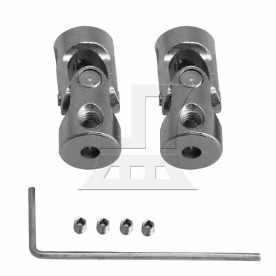0.2-0.23cm ID Rotatable Universal Joint Shaft Connector Coupler Set of 2 Silver