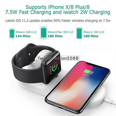 For Apple Watch iPhone X Samsung 2 in 1 Qi Wireless Charging Charger Pad Station