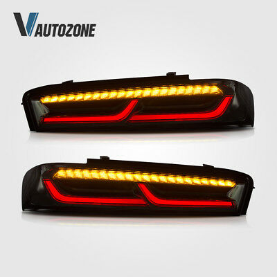Fit For 2016 2017 Chevy Camaro LED Black Rear Brake Tail Lights Lamps Pair Smoke