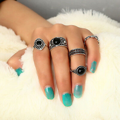5PCS/Set Women Bohemian Punk Gothic Vintage Finger Rings Set Jewelry