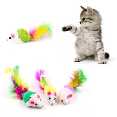5Pcs  Soft  Mouse Cat Toys Fleece False Colorful Feather Funny Playing Toy-1x_