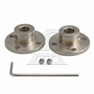 0.8cm Steel Rigid flange Coupling Shaft Support Fixed Seat Set of 2 Silver