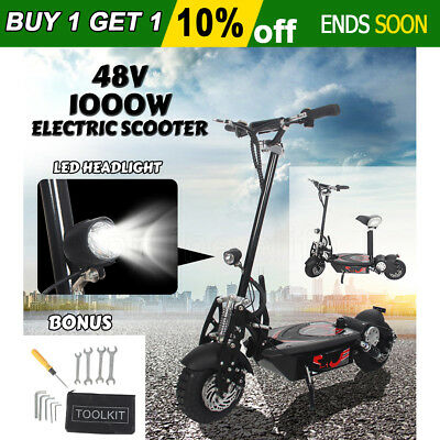 "48V 1000W Electric Scooter Foldable w/ Seat Turbo 10"" LED Adult Ride Disc Brake"