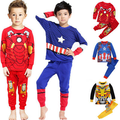 Marvel Super Hero Iron Man Pyjamas Kids Sleepwear Boys Nightwear Pj's Pajamas