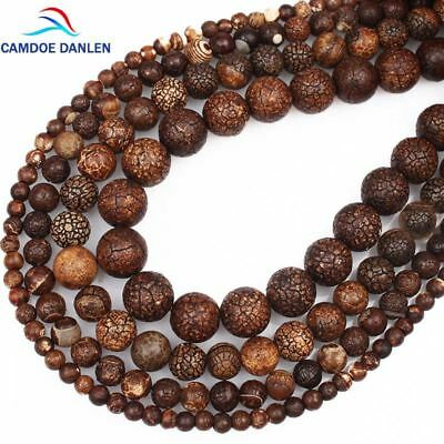 Natural Stone Beads Fossils Stone 4 6 8 10 MM Loose Round Diy Charm Beads For Je