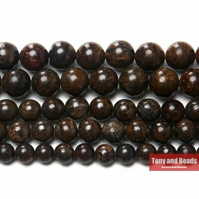 "Natural Stone Bronzite Round Loose Beads 15"" Strand 4 6 8 10MM Pick Size For Jew"