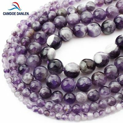 Natural Stone Purple Amethysts Crystals Round Loose Beads 4 6 8 10 12MM Fit Diy