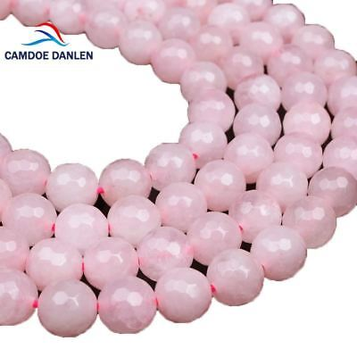 Natural Stone Faceted Rose Pink Quartz Beads Round 6 8 10 12MM Strand Loose Bead