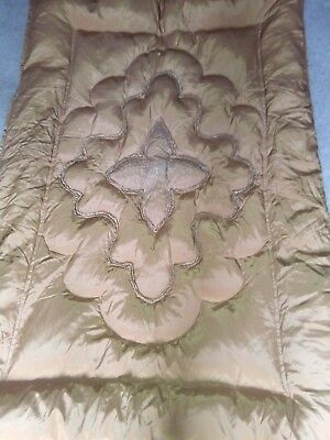 Vintage quilted embroidered single eiderdown bed cover Old Gold