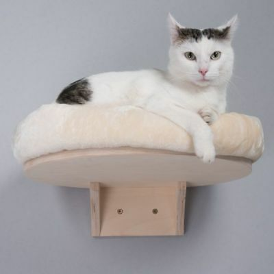 Natural Wall Mounted Cat Bed Shelf Cushion Washable Polyester Snuggle +Free Gift
