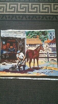 Wm Briggs Penelope Anchor  'Village Blacksmith' 1980's Tapestry picture